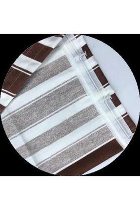 ALTINPAMUK Her Ölçüde Enxboy Seçenekli Bağcıklı Balkon Perdesi Balkon Brandası Kahve Beyaz 3