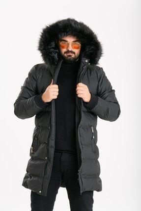 ECHERCHI Erkek Siyah Uzun Kürklü Mont 0