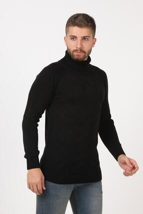 Tena Moda Erkek Siyah Balıkçı Boğazlı Yaka Reglan Kol Normal Fit Triko Kazak 1