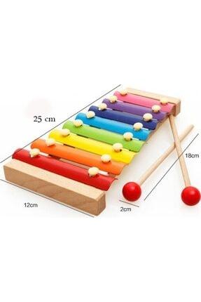 HAMAHA Wooden Toys Eğitici Ahşap Ksilofon 8 Nota 8 Ton 25 Cm 8 Tuşlu Sesli Selefon Oyuncak 2
