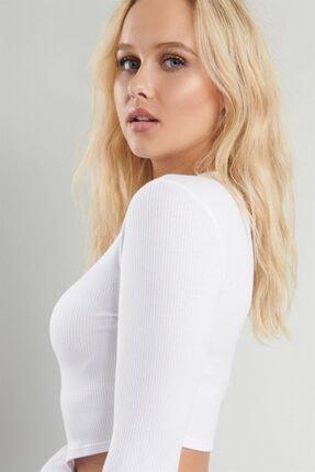 PUNKY CAT Kadın Beyaz Uzun Kollu Crop Sweatshirt 1