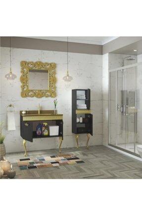 Housepack Gold Siyah 115 Cm Boy Dolaplı Cam Lavabolu Lüx Banyo Takımı 2