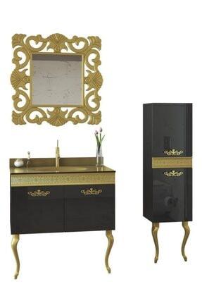 Housepack Gold Siyah 115 Cm Boy Dolaplı Cam Lavabolu Lüx Banyo Takımı 4