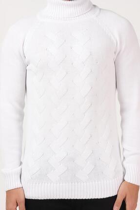 Tena Moda Erkek Beyaz Balıkçı Boğazlı Yaka Reglan Kol Normal Fit Triko Kazak 1