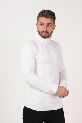 Tena Moda Erkek Beyaz Balıkçı Boğazlı Yaka Reglan Kol Normal Fit Triko Kazak 2
