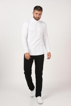 Tena Moda Erkek Beyaz Balıkçı Boğazlı Yaka Reglan Kol Normal Fit Triko Kazak 4