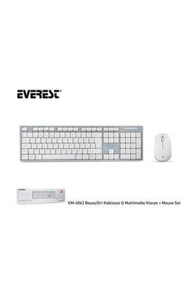 Everest Km-6063 Beyaz/gri Kablosuz Q Multimedia Klavye + Mouse Set 1