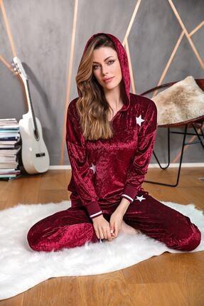 Anıl Kadın Bordo Pijama Kışlık Kadife Kapüşonlu Bluz Pantolon 2'li Takım 9613 0