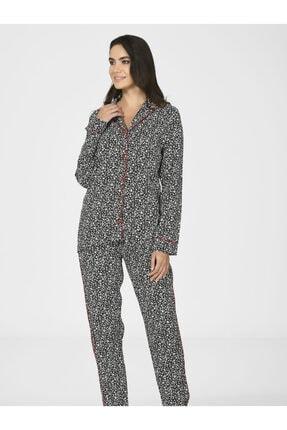 Nbb Önden Düğmeli Kadın Dokuma Pijama Takımı 67030 0