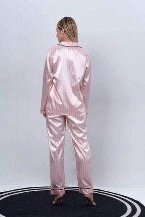 C&City Ruby Bristol Kadın Saten Uzun Kol Gömlek Pantolon Takım Pembe/ekru 2