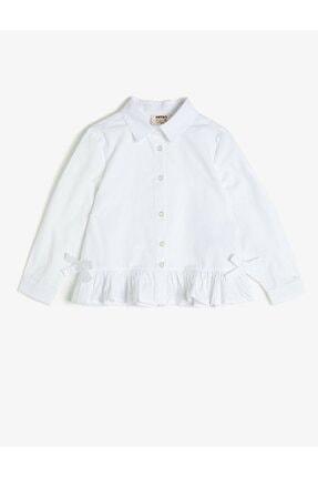 Koton Koton Kız Çocuk Fırfırlı Düğmeli Beyaz Gömlek 1kkg67986aw 0