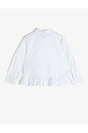 Koton Koton Kız Çocuk Fırfırlı Düğmeli Beyaz Gömlek 1kkg67986aw 2