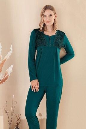 Lohusa Sepeti Fc Fantasy 1329 Francesca Zümrüt Yeşil Sabahlıklı Lohusa Pijama Takımı 1
