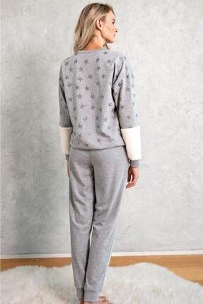 LİNGABOOMS 1087 Ev Giyimi Uzun Kol Bisiklet Yaka Kadın Iki Iplik Nakış Peluş Detaylı Pijama Takımı 1