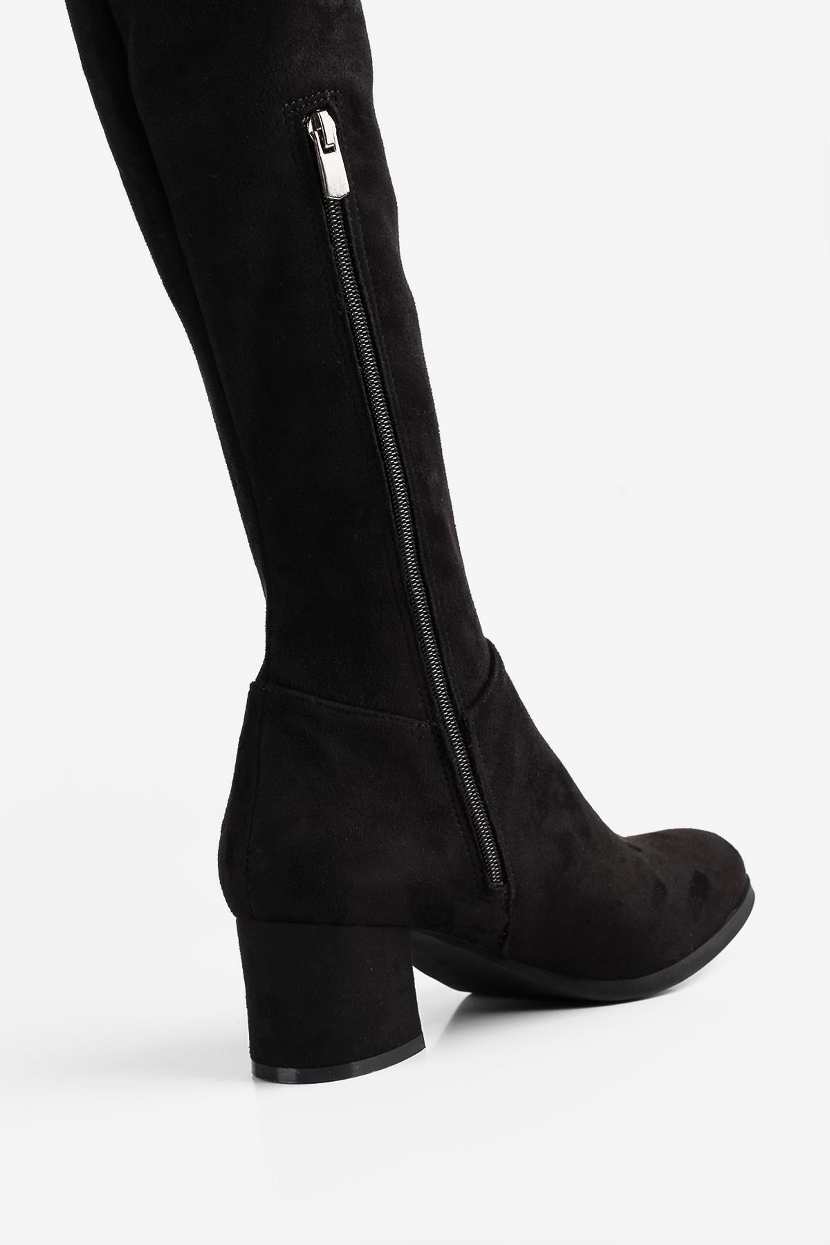 Gökhan Talay Siyah Kadın Diz Üstü Çorap Çizme