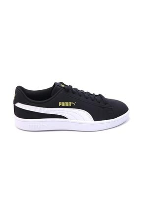 Puma Smash V2 Buck 365160 23 Kadın Erkek Sneaker Ayakkabı Siyah Beyaz 36-40,5 2