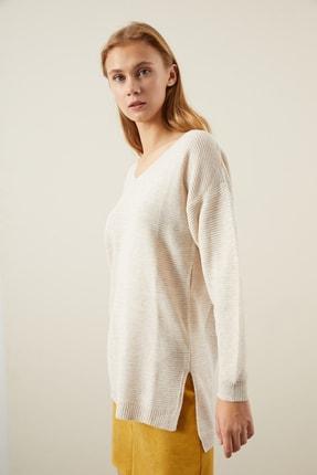 Tena Moda Kadın Taş V Yaka Yanı Yırtmaçlı Basic Triko Kazak 1