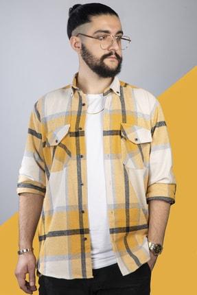 pawq Sarı Beyaz Kareli Oduncu Gömleği 1