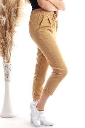 Cotton Mood 20343111 Viskon Flamlı Fermuarlı Fleto Cepli Havuç Pantolon Bisküvi 1