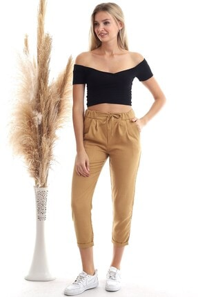 Cotton Mood 20343111 Viskon Flamlı Fermuarlı Fleto Cepli Havuç Pantolon Bisküvi 2