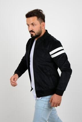 Edwox Kolları Şeritli Kadife Slim Fit Mevsimlik Ceket Siyah 1