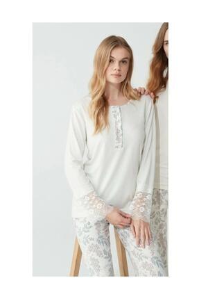 Feyza 3776 Kadın Gri Desenli Pijama Takımı 0