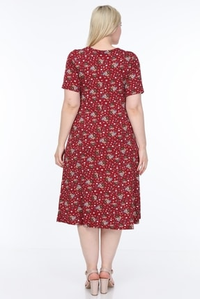 SENTEX Kısa Kollu Desenli Geniş Elbise 2
