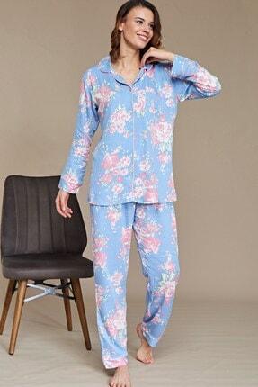 Lohusa Sepeti Gül Desenli Önden Düğmeli Pijama Takımı - B29020 1
