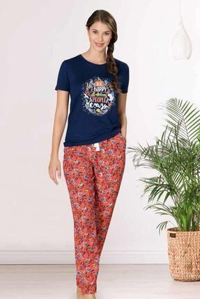 1081 Çiçek Desenlik Yazlık Ince Kadın Pijama Takımı resmi