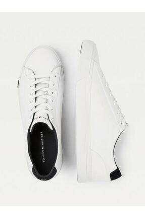 Tommy Hilfiger Erkek Beyaz Sneaker Corporate Deri Sneaker FM0FM02983 3