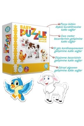 ERKOL OYUNCAK 27 Parça Circle Toys Baby Puzzle Seti 12 Adet Çiftlik Hayvanları 1