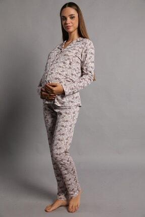 Lohusa Sepeti Valerie Önden Düğmeli Pijama Takımı Kahve 3