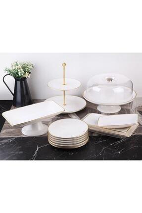 Gönül Porselen 13 Parça Beyaz Gold Pasta Servis Sunum Seti 0