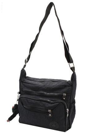 Bevitton Xx-71 4120 Siyah Paraşüt Krinkıl Hafif Kumaş 8 Bölmeli Kadın Çapraz Postacı Çantası Bvt41-20 Siyah 1