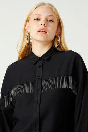 Loft Kadın Taşlı Püsküllü Siyah Gömlek Lf2025064 1