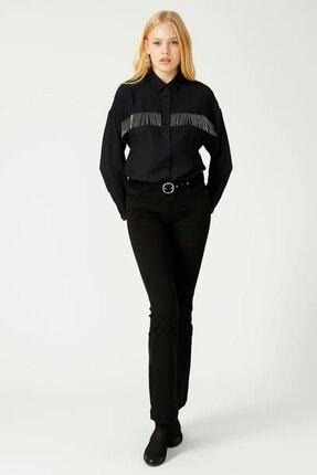 Loft Kadın Taşlı Püsküllü Siyah Gömlek Lf2025064 2