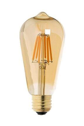 Floresan Ampuller Rustik Edison Led Ampül E27 Duy Armut Tipi St64 Model 4w Amber Rengi 0