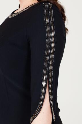 MI Kadın Siyah Uzun Kol Taşlı Elbise 20y..elb.71025.01 2