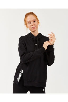 2X I-Lock W Print Detailed Hoodie Kadın Siyah Sweatshirt resmi
