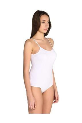 Tutku Kadın Beyaz 2'li Paket Ip Askılı Likralı Kancalı Çıtçıtlı Body Zıbın 2