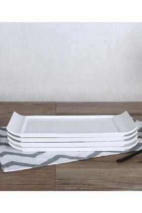 ACAR Porselen Saf Beyaz Dikdörtgen Kayık Sunum Tabak 0