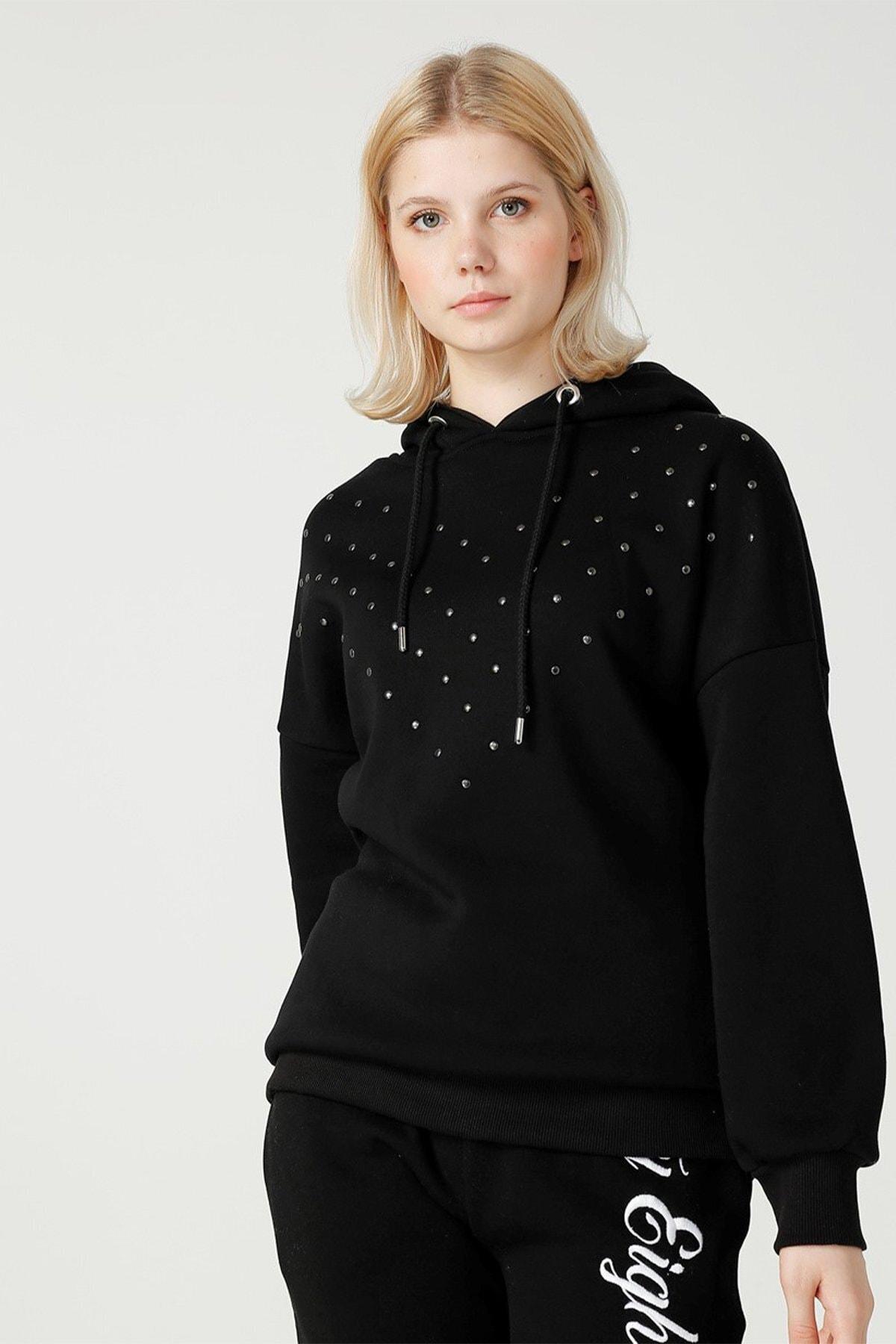 Kadın Zımbalı Siyah Sweatshirt Lf2025531