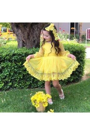 Riccotarz Kız Çocuk Prenses Güpürlü Sarı Elbise 0