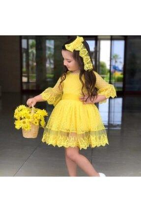 Riccotarz Kız Çocuk Prenses Güpürlü Sarı Elbise 1