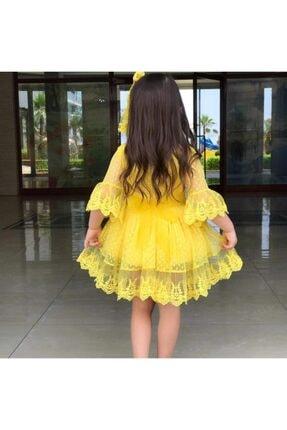 Riccotarz Kız Çocuk Prenses Güpürlü Sarı Elbise 2