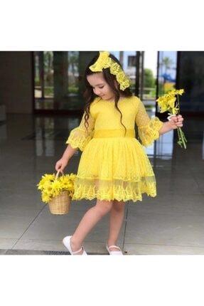 Riccotarz Kız Çocuk Prenses Güpürlü Sarı Elbise 3