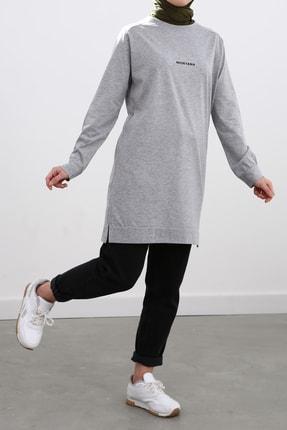 Ekrumoda Kadın Gri Pamuklu Sweatshirt 2