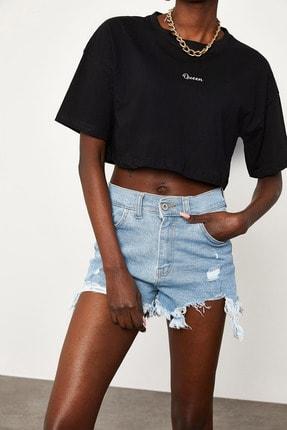 Xena Kadın Siyah Queen Baskılı Crop T-Shirt 1KZK1-11510-02 3