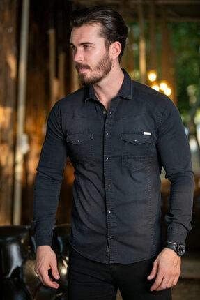 BAYEFENDİ Siyah Cepli Kot Gömlek Slim Fit 0