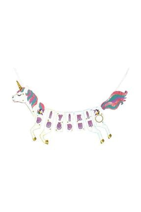 TT Tahtakale Toptancıları Unicorn Temalı Flama Asmalı At Şeklinde Simli Iyiki Doğdun Yazısı 1